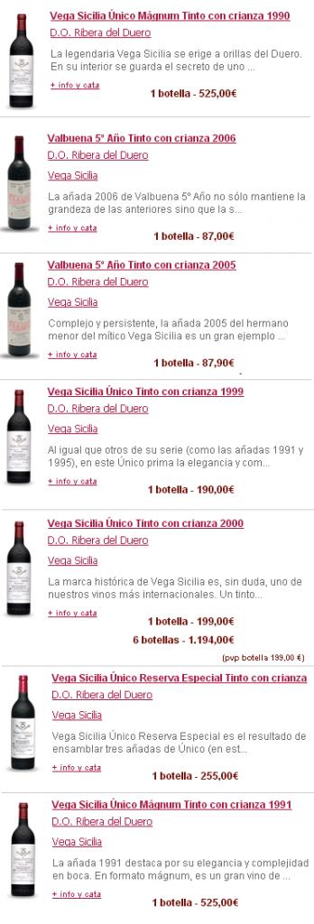 Vega Sicilia Botellas