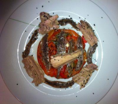 Pimientos asados del Bierzo, anchoas, ventresca