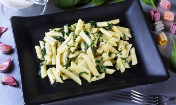 Macarrones con espinacas 1