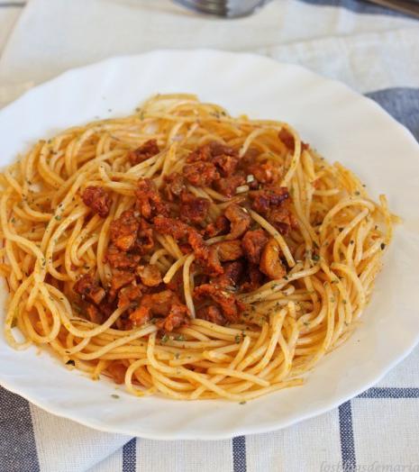 Receta de Espaguetis con picadillo de cerdo adobado 1