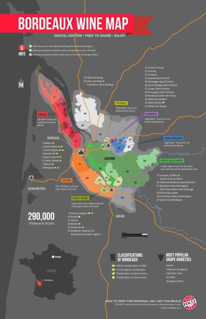 ¿Conoces el mapa vinícola de Bordeaux?