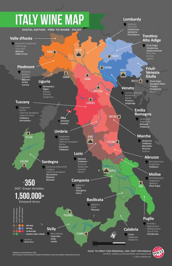 El mapa del vino en Italia 1