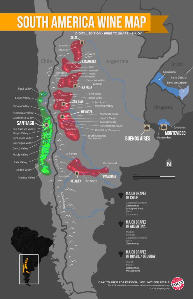 ¿Quieres saber que zonas vinícolas y varietales hay en América del sur? 1
