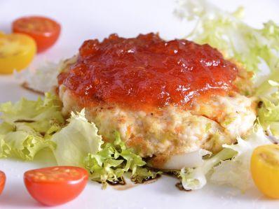 Hamburguesas de pollo con confitura de tomate 1