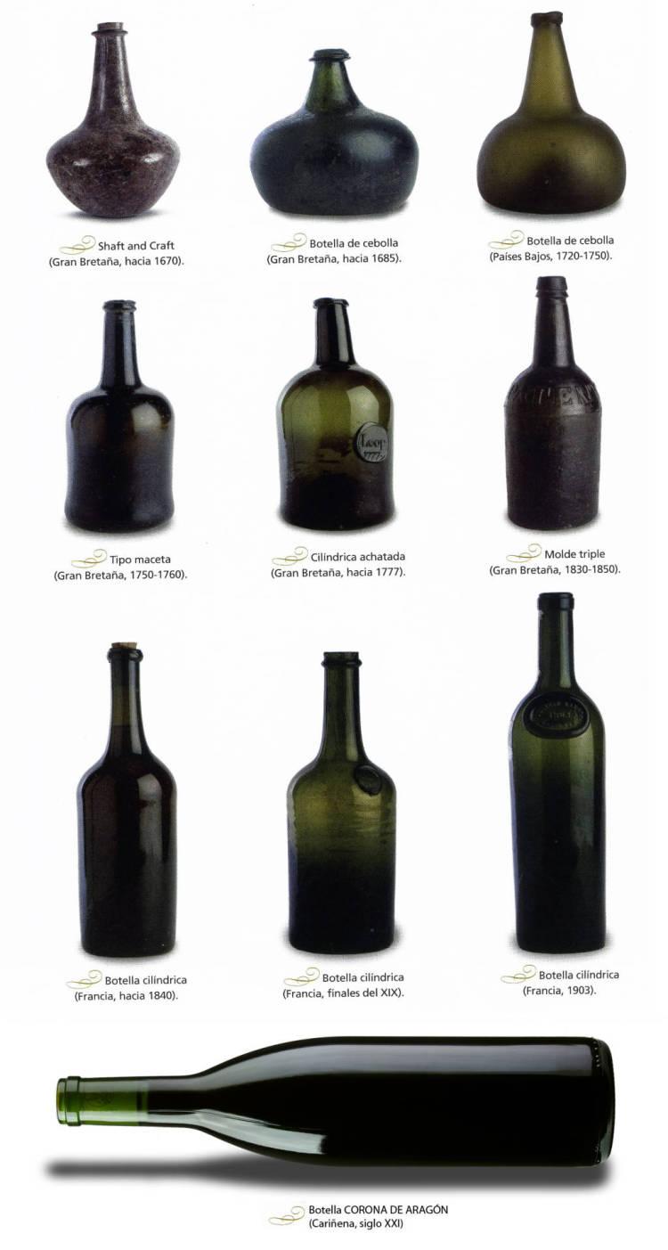 Evolución de las botellas de vino en los últimos 400 años 1