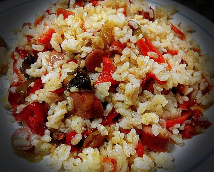 Arroz templado con verduras y salchichas 1