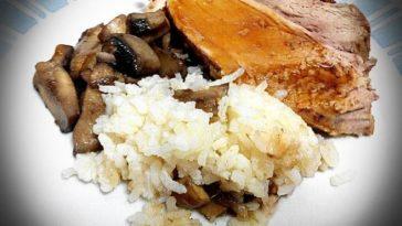 Rollo de ternera al horno con arroz y champiñones 1
