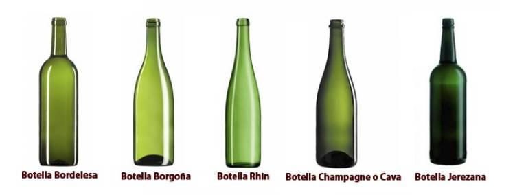 Tipos de botellas que se usan hoy en el mundo del vino 1