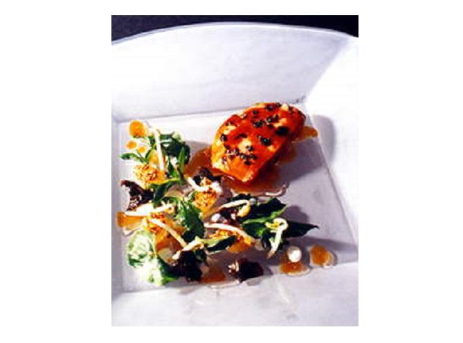 Canetón con vieiras vegetales y sal de algas 2