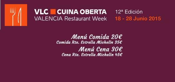 Valencia Cuina Oberta Junio 2015: 12ª Valencia Restaurant Week 1