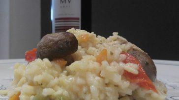 Risotto de pollo con verduras de otoño y MV (multivarietal) tinto de Pago Dehesa del Carrizal 4