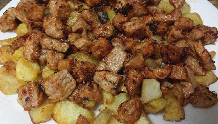 Salteado de lomo macerado con patatas fritas 2