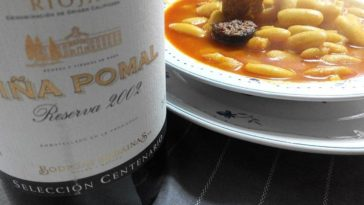 Fabada asturiana y tinto Rioja Reserva 1