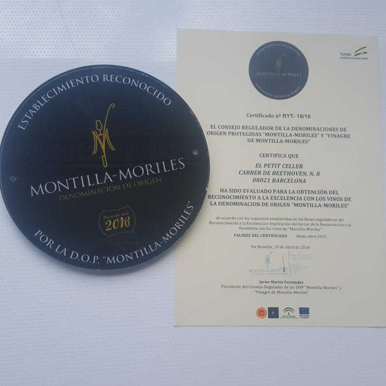 El Petit Celler de Barcelona, establecimiento oficialmente reconocido, DO Montilla-Moriles