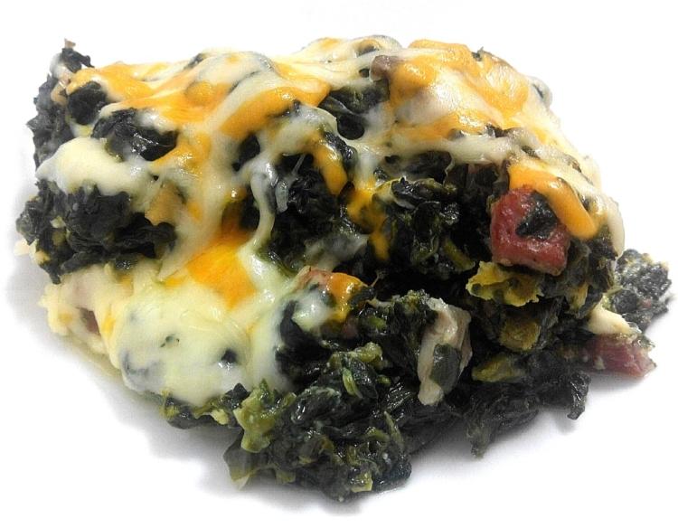 Revuelto de espinacas, setas y jamón ibérico gratinado a 4 quesos 4