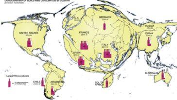 Mapamundi del consumo y producción de vino 1