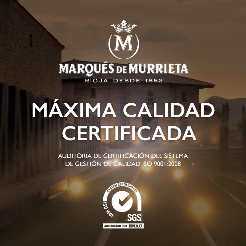 Marqués de Murrieta repite su Máxima Calidad Certificada 1