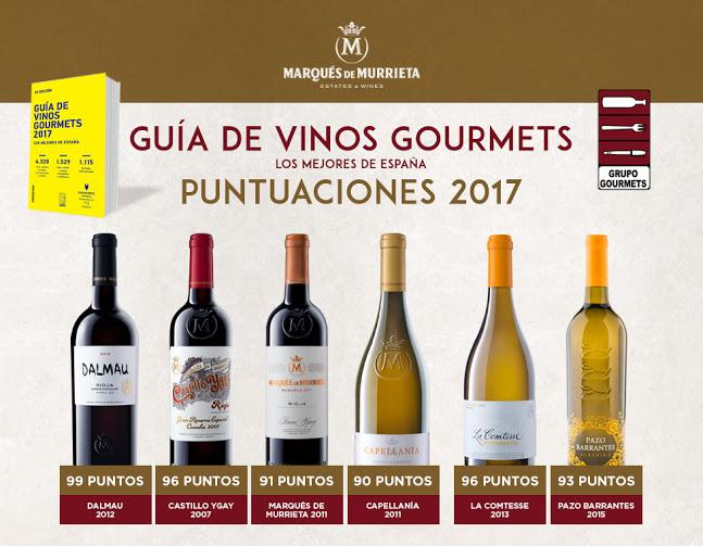 Excelentes puntuaciones de los vinos de Marqués de Murrieta en la Guía de Vinos Gourmets 1