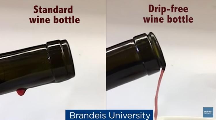 Científicos de la Universidad de Brandeis diseñan una botella de vino que no gotea cuando se sirve la copa 1
