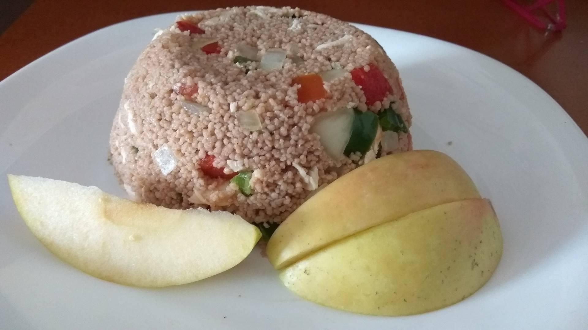 Ensalada de Cous Cous de Espelta Integral Bio con pollo y hortalizas, como los alimentos Bio dan muchísimo sabor 1