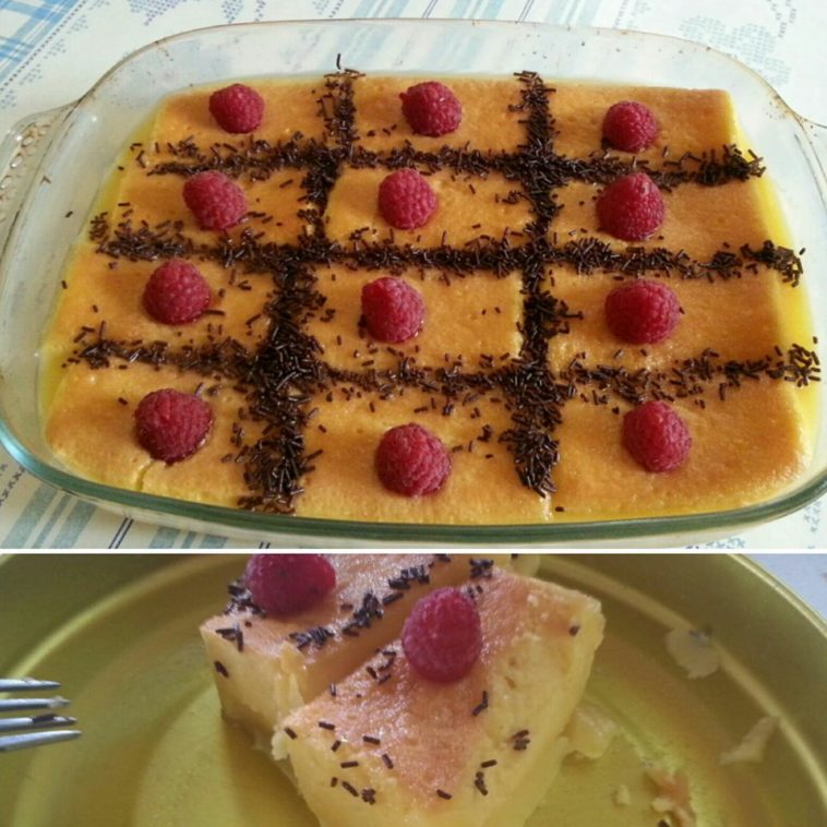 Tarta casera de sobaos bañados en flan con virutas de chocolate y frambuesas 1
